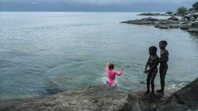 Swimming Chizimulu Island, Malawi