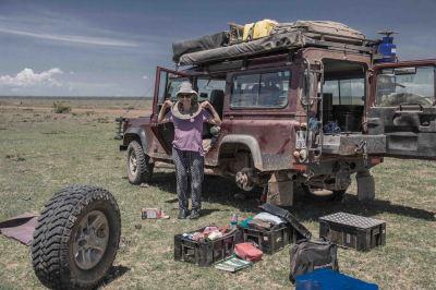 Modelling the brake back plate. Near Kisima, Northern Kenya... First time we've used a jack!