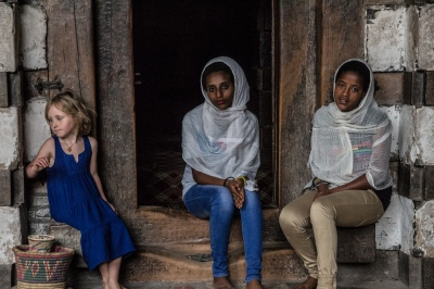 Mader and Bezi, two sweet sisters on pilgrimage to Lalibela - we too them with us to some of the churches in the countryside around Lalibela (I think Zenebe our guide was sweet on Bezi, but she only had eyes for Leah...)