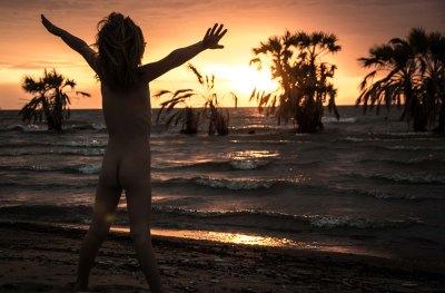 Lake Turkana sunrise naked yoga